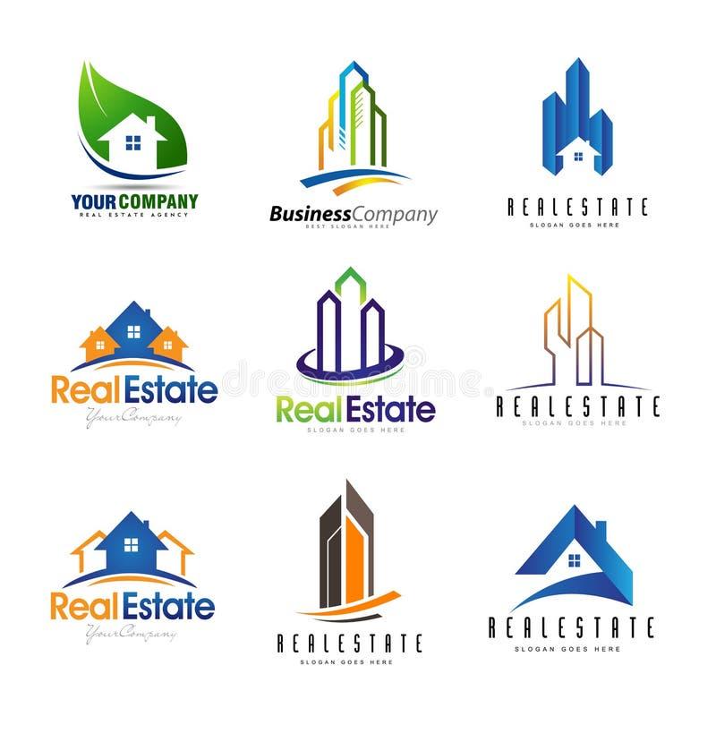 Σύνολο λογότυπων ακίνητων περιουσιών διανυσματική απεικόνιση