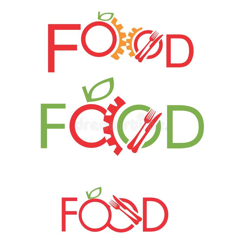 Σύνολο λογότυπων βιομηχανίας τροφίμων διανυσματική απεικόνιση