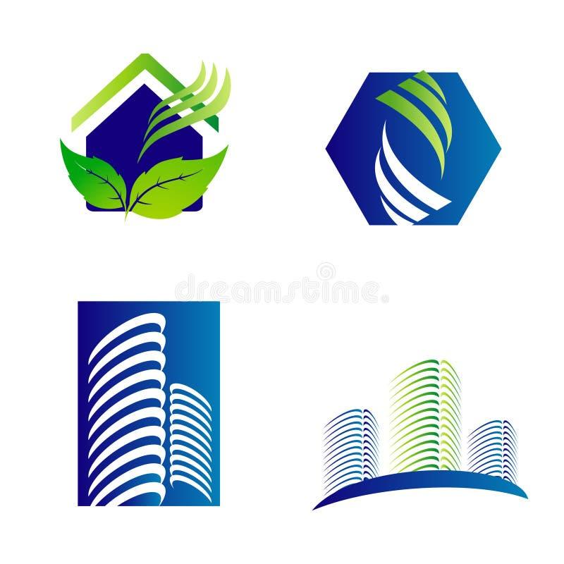 Σύνολο λογότυπων επιχείρησης αρχιτεκτονικής οικοδόμησης κτηρίου ελεύθερη απεικόνιση δικαιώματος