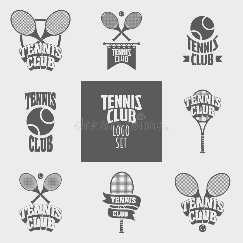 Σύνολο λογότυπων λεσχών αντισφαίρισης, πρότυπα σχεδίου διακριτικών ή ετικετών διανυσματική απεικόνιση
