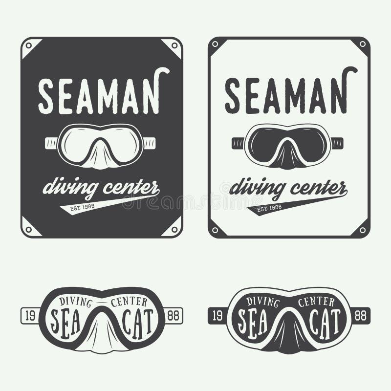 Σύνολο λογότυπων, ετικετών και συνθημάτων κατάδυσης στο εκλεκτής ποιότητας ύφος διανυσματική απεικόνιση