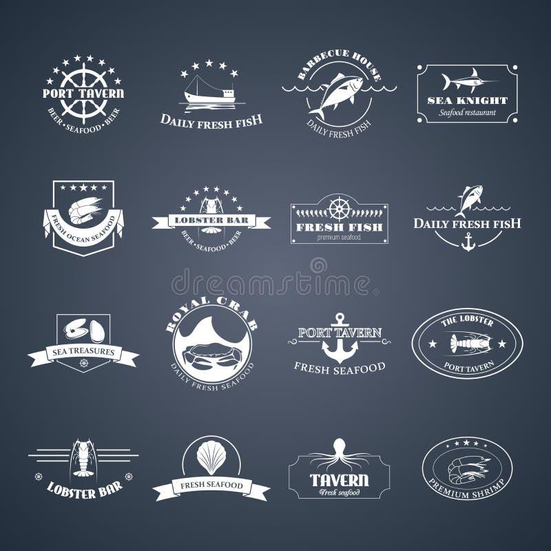 Σύνολο λογότυπων θαλασσινών απεικόνιση αποθεμάτων