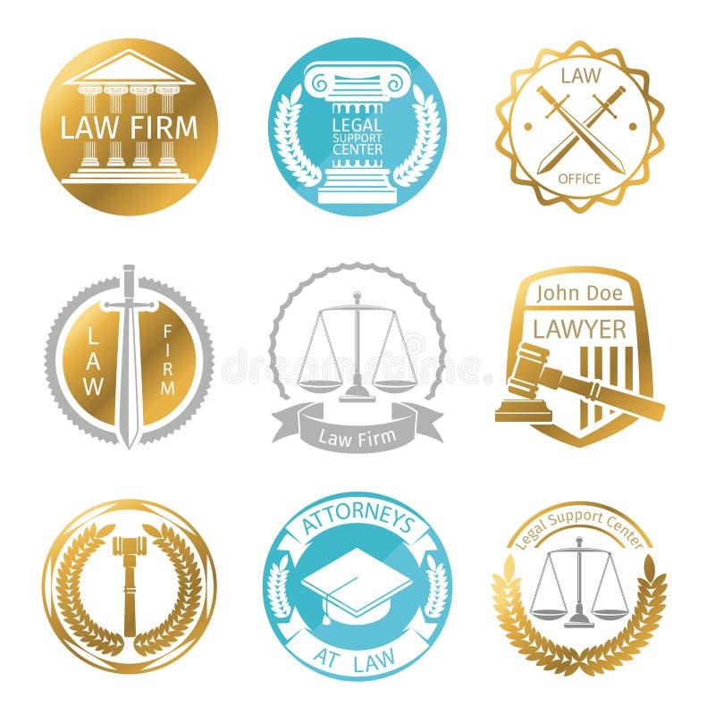 Σύνολο λογότυπων δικηγορικών γραφείων απεικόνιση αποθεμάτων