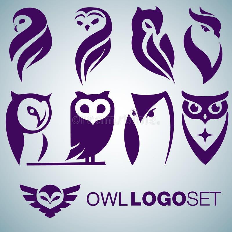 Σύνολο λογότυπων κουκουβαγιών διανυσματική απεικόνιση