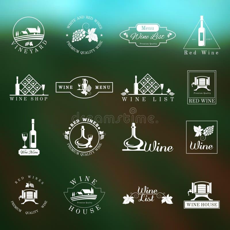 Σύνολο λογότυπων κρασιού ελεύθερη απεικόνιση δικαιώματος