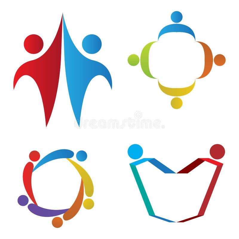 Σύνολο λογότυπων ομαδικής εργασίας ελεύθερη απεικόνιση δικαιώματος