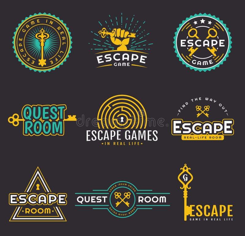 Σύνολο λογότυπων παιχνιδιών δωματίων και διαφυγών αναζήτησης απεικόνιση αποθεμάτων