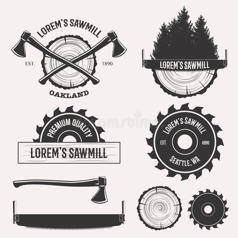 Σύνολο λογότυπων πριονιστηρίων στοκ φωτογραφίες