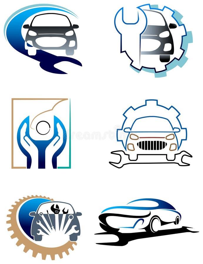 Σύνολο λογότυπων προσοχής αυτοκινήτων διανυσματική απεικόνιση