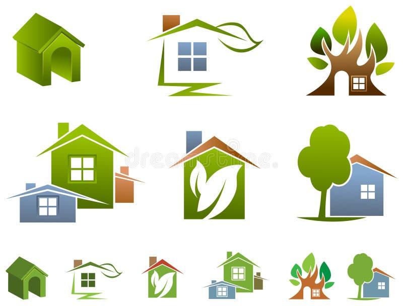 Σύνολο λογότυπων σπιτιών απεικόνιση αποθεμάτων