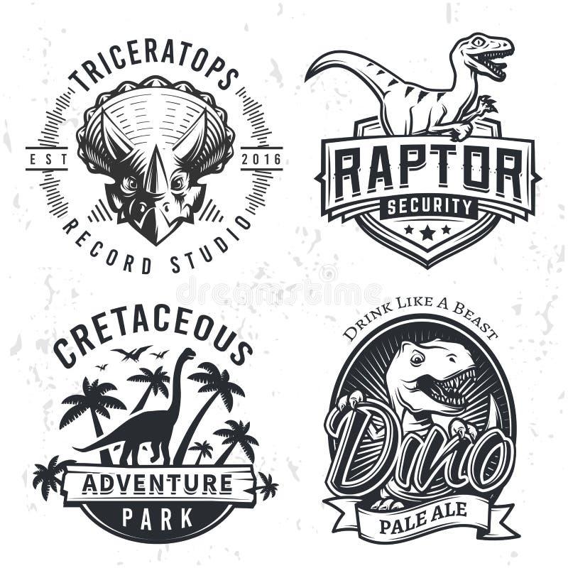 Σύνολο λογότυπων της Dino Έννοια απεικόνισης μπλουζών αρπακτικών πτηνών στο υπόβαθρο grunge Σχέδιο ετικετών μπύρας τ -τ-rex Τρύγο ελεύθερη απεικόνιση δικαιώματος