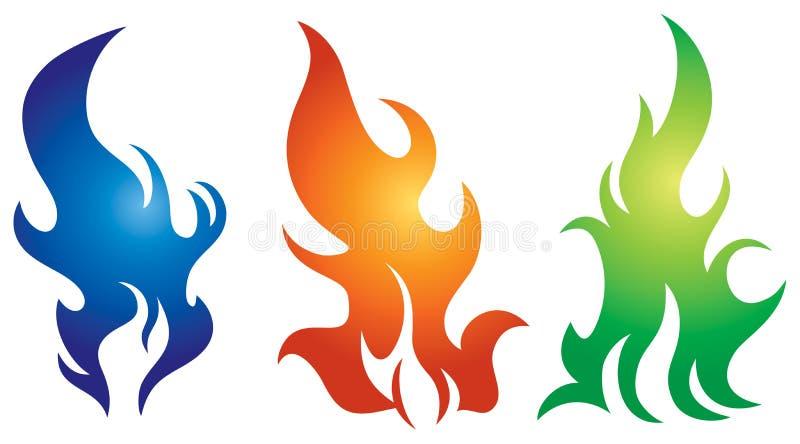 Σύνολο λογότυπων φλογών διανυσματική απεικόνιση