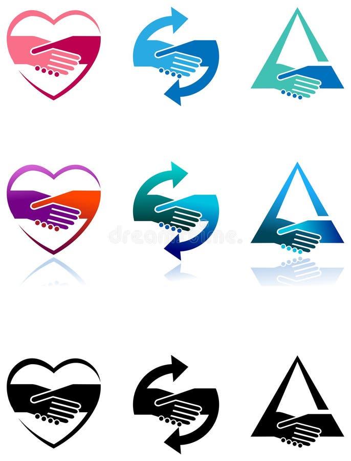 Σύνολο λογότυπων χειραψιών απεικόνιση αποθεμάτων