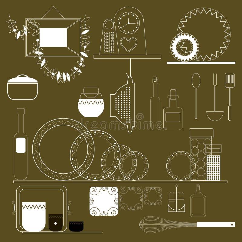 Σύνολο οικιακών στοιχείων και επίπλων απεικόνιση αποθεμάτων