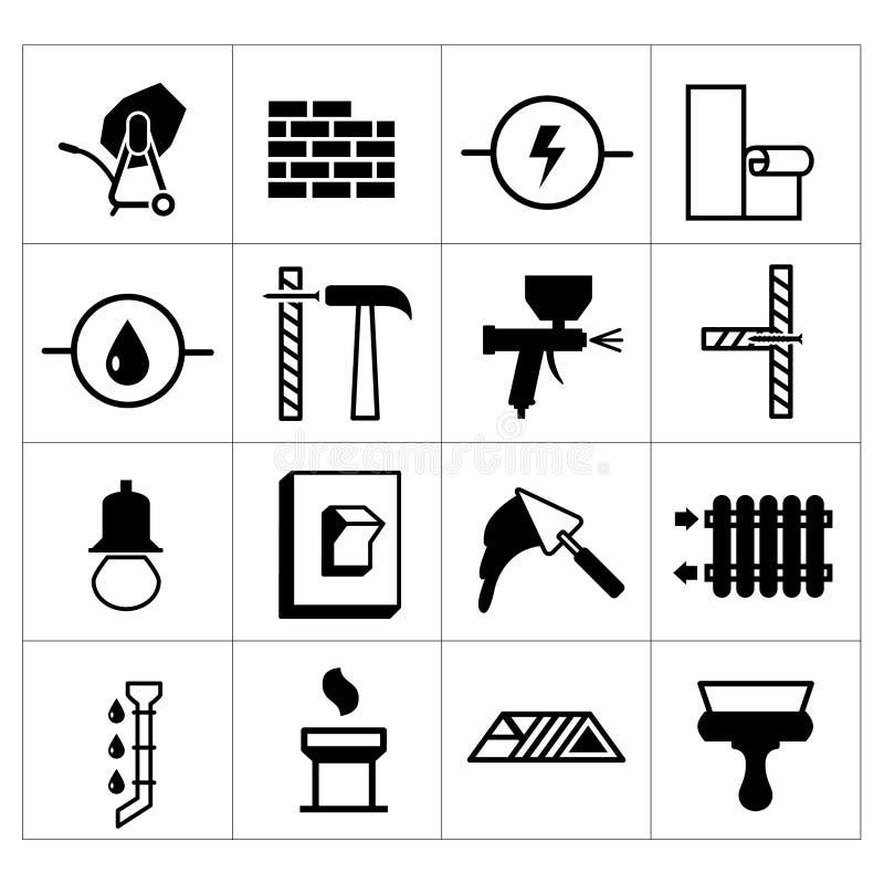 Σύνολο οικοδόμησης, κτηρίου, και του ολοκληρωμένου κυκλώματος επισκευής σπιτιών απεικόνιση αποθεμάτων