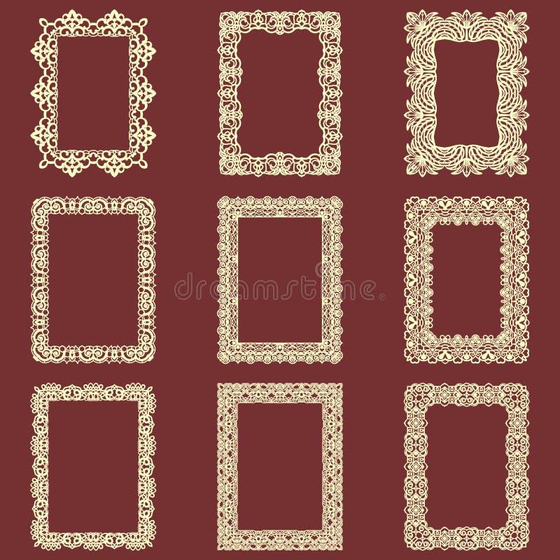 Σύνολο ορθογώνιου εκλεκτής ποιότητας απομονωμένου πλαίσια υποβάθρου Διανυσματικά στοιχεία σχεδίου που μπορούν να κοπούν με ένα λέ διανυσματική απεικόνιση