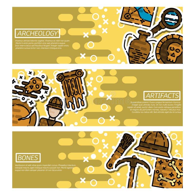 Σύνολο οριζόντιων εμβλημάτων για την αρχαιολογία ελεύθερη απεικόνιση δικαιώματος