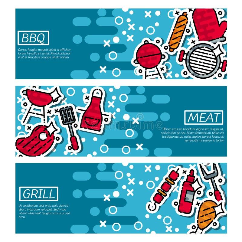 Σύνολο οριζόντιων εμβλημάτων για bbq διανυσματική απεικόνιση