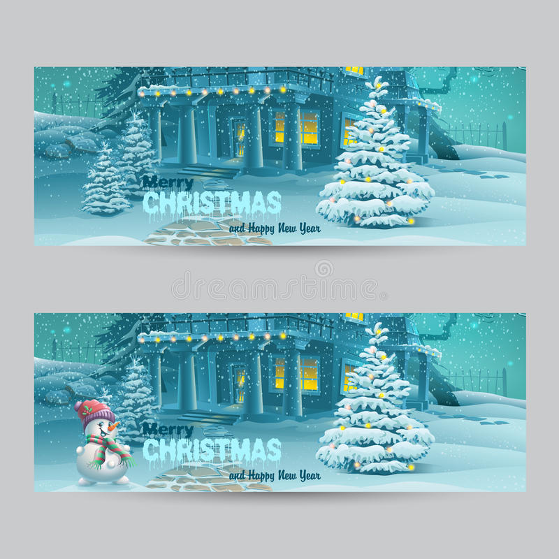 Σύνολο οριζόντιων εμβλημάτων με τα Χριστούγεννα και το νέο έτος με την εικόνα μιας χιονώδους νύχτας με έναν χιονάνθρωπο και τα χρ ελεύθερη απεικόνιση δικαιώματος