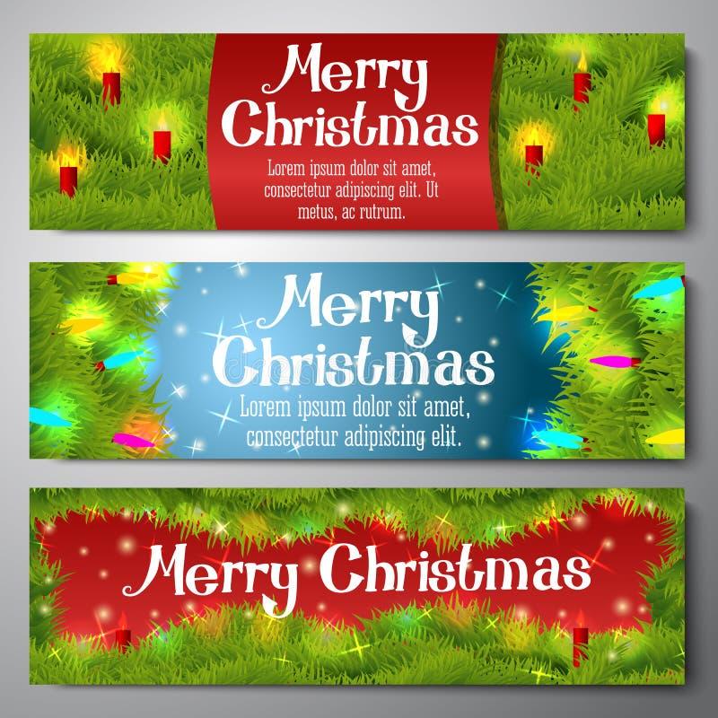 Σύνολο οριζόντιων εμβλημάτων Χαρούμενα Χριστούγεννας διανυσματική απεικόνιση