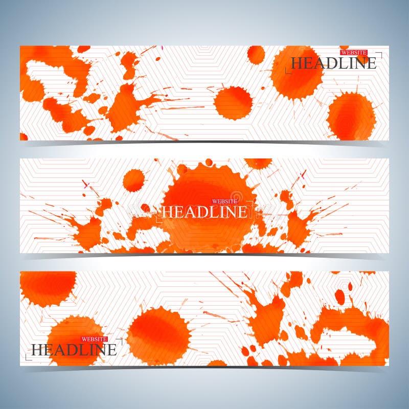 Σύνολο οριζόντιων υποβάθρων watercolor Σύγχρονο πρότυπο σχεδίου ιστοχώρου σελίδων επίσης corel σύρετε το διάνυσμα απεικόνισης απεικόνιση αποθεμάτων