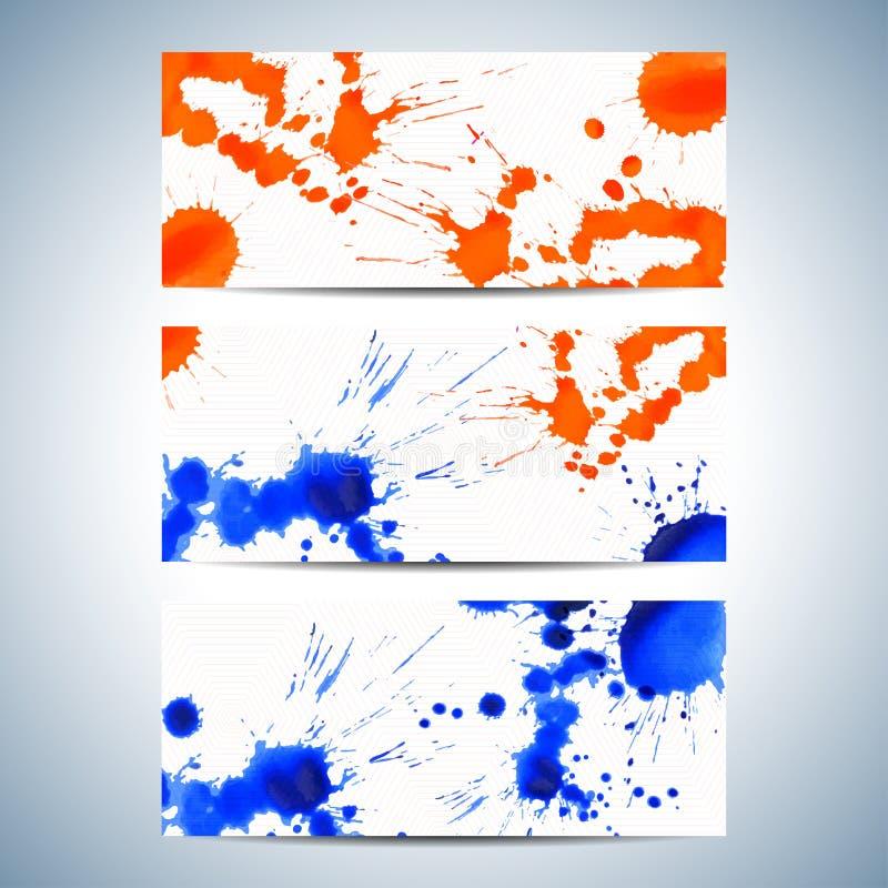 Σύνολο οριζόντιων υποβάθρων watercolor Σύγχρονο σχέδιο επιχειρησιακής παρουσίασης με τη θέση για το κείμενό σας επίσης corel σύρε απεικόνιση αποθεμάτων