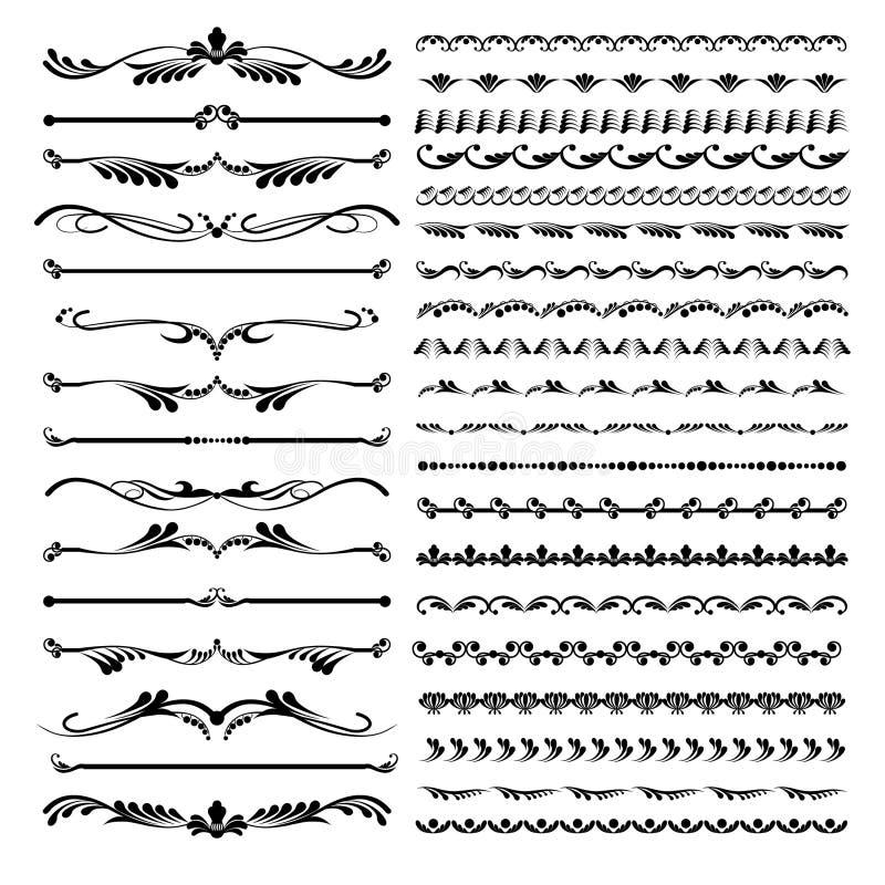 Σύνολο οριοθετών κειμένων και διακοσμητικών καλλιγραφικοί floral στοιχείων γραμμών και διανυσματική απεικόνιση