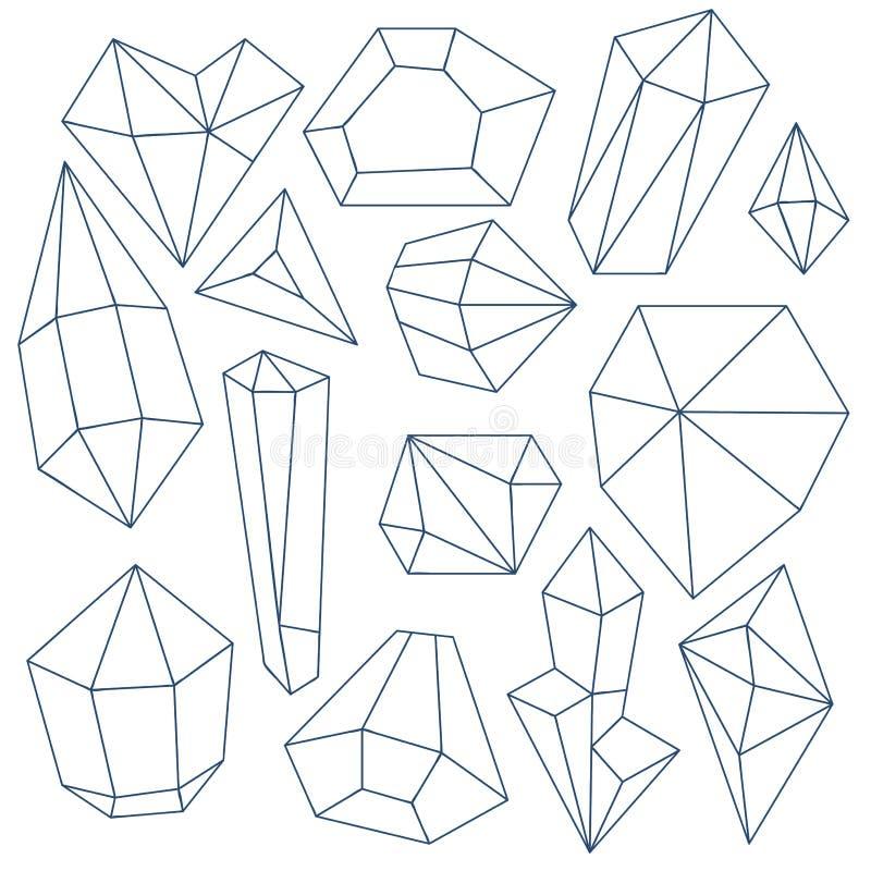 Σύνολο ορυκτών κρυστάλλων διανυσματική απεικόνιση