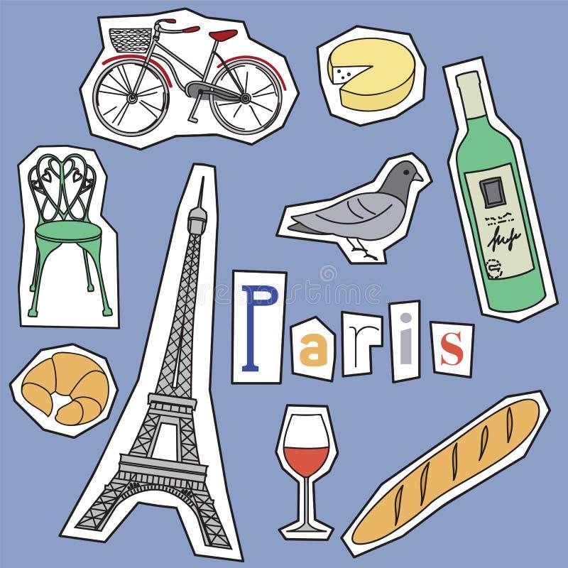 Σύνολο ορόσημων του Παρισιού απεικόνιση αποθεμάτων