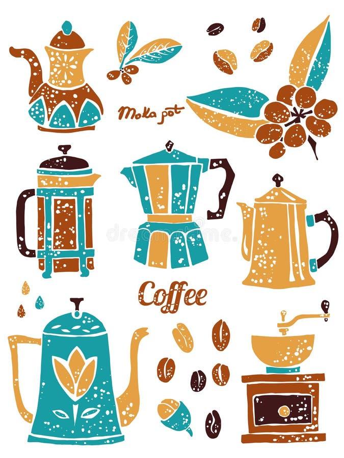 Σύνολο δοχείων καφέ στο αφελές ύφος lino απεικόνιση αποθεμάτων