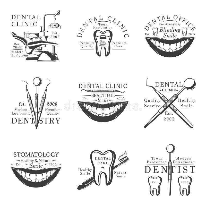 Σύνολο οδοντικών λογότυπων, εμβλημάτων, ετικετών και διακριτικών Σύνολο διανυσματικών προτύπων στο άσπρο υπόβαθρο ελεύθερη απεικόνιση δικαιώματος