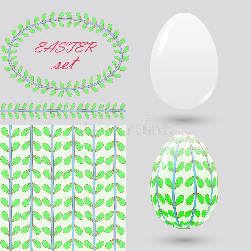 Σύνολο Πάσχας Καθαρά και χρωματισμένα αυγά, άνευ ραφής σχέδιο, βούρτσα και πλαίσιο Στοιχεία για τις ανακοινώσεις σχεδίου, ευχετήρ ελεύθερη απεικόνιση δικαιώματος