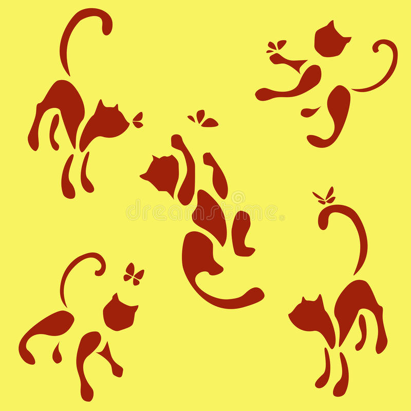 Σύνολο πέντε κόκκινων γατών με την πεταλούδα διανυσματική απεικόνιση