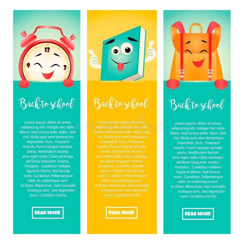Σύνολο πίσω στα σχολικά εμβλήματα με το ξυπνητήρι, το βιβλίο και το σακίδιο πλάτης διανυσματική απεικόνιση