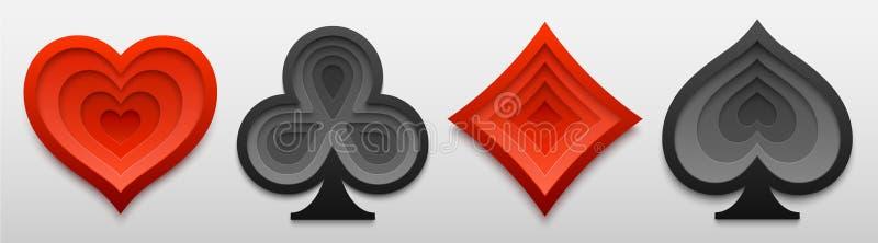 Σύνολο παίζοντας μορφών σημαδιών κοστουμιών καρτών Τέχνη εγγράφου τεσσάρων συμβόλων καρτών επίσης corel σύρετε το διάνυσμα απεικό απεικόνιση αποθεμάτων