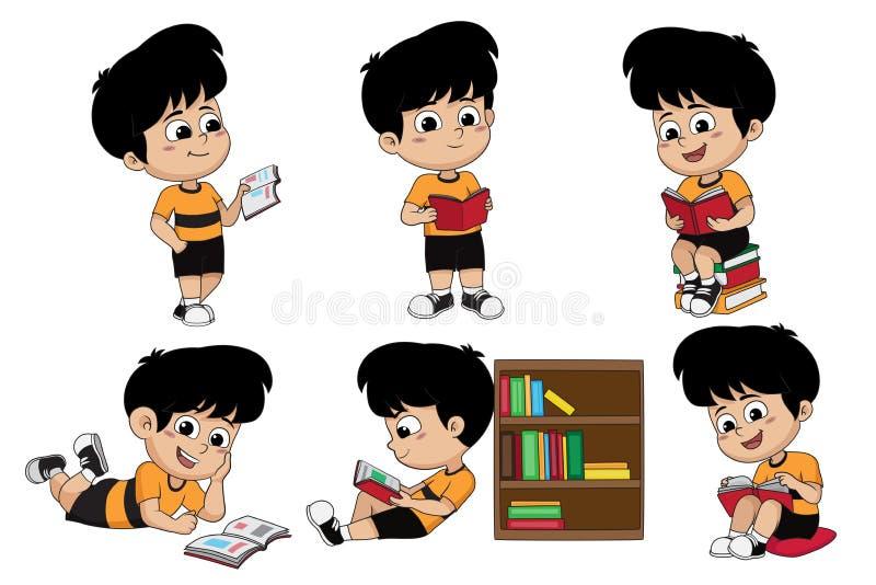 Σύνολο παιδιού που διαβάζει ένα βιβλίο απεικόνιση αποθεμάτων