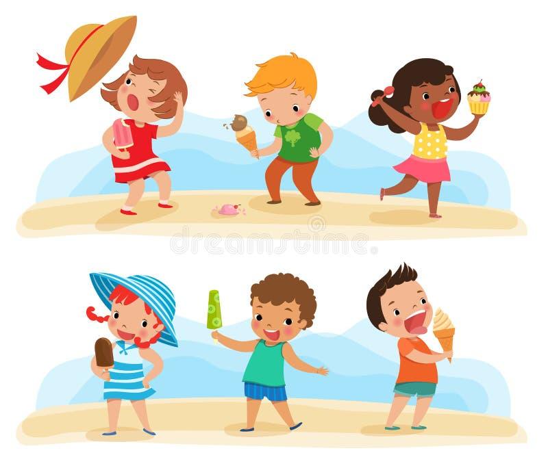 Σύνολο παιδιών με το παγωτό απεικόνιση αποθεμάτων