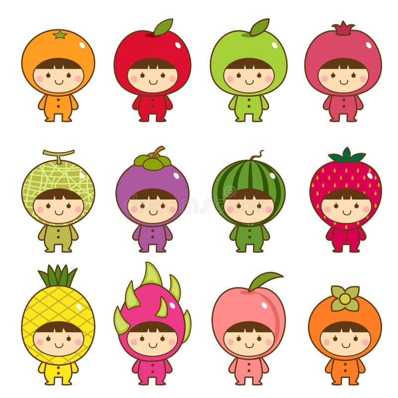Σύνολο παιδιών στα χαριτωμένα κοστούμια φρούτων ελεύθερη απεικόνιση δικαιώματος