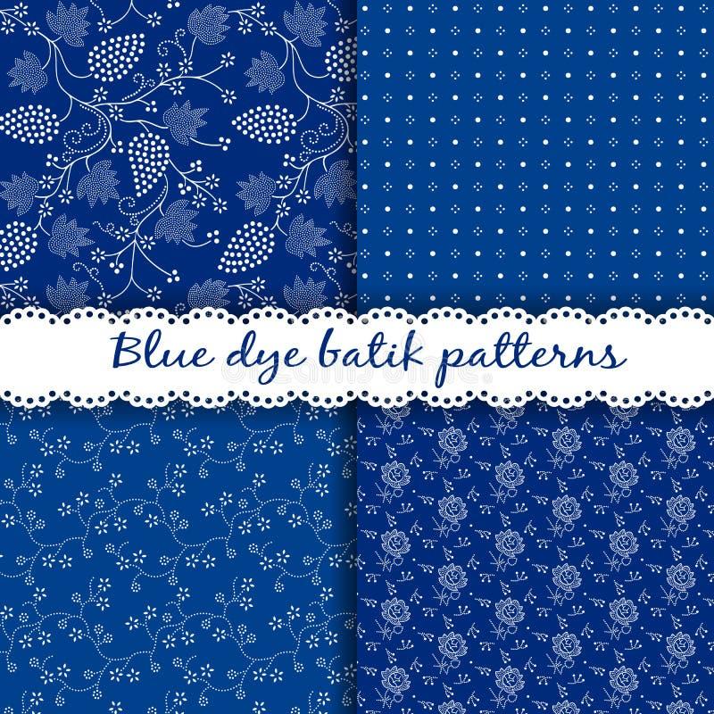Σύνολο παραδοσιακών ουγγρικών μπλε σχεδίων μπατίκ χρωστικών ουσιών απεικόνιση αποθεμάτων