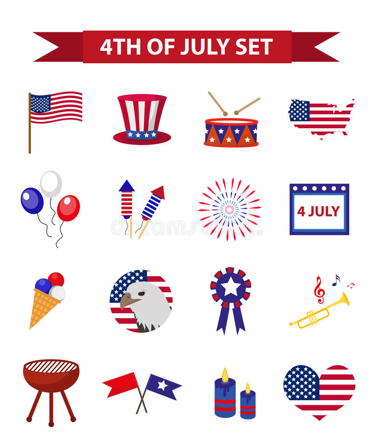 Σύνολο πατριωτικής ημέρας της ανεξαρτησίας εικονιδίων της Αμερικής 4 Ιουλίου συλλογή των στοιχείων σχεδίου, που απομονώνεται στο  διανυσματική απεικόνιση