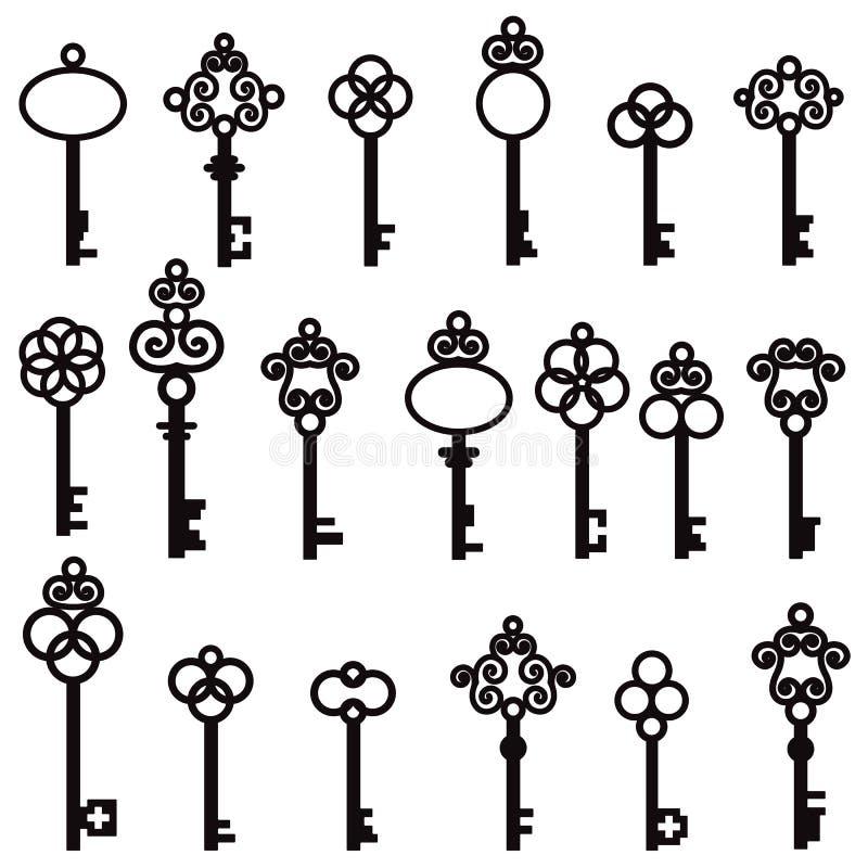 Σύνολο παλαιών κλειδιών με τα διακοσμητικά στοιχεία στο αναδρομικό ύφος στοκ φωτογραφία με δικαίωμα ελεύθερης χρήσης