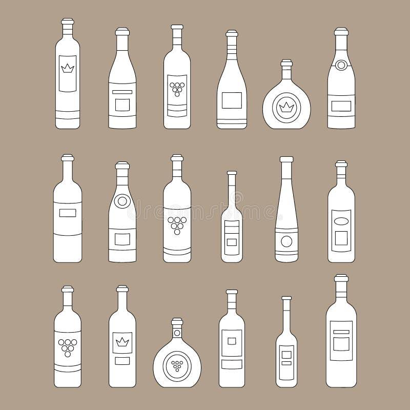 Σύνολο περίληψης μπουκαλιών κρασιού έξω μπουκάλια κρασιού γραμμών Διαφορετικά είδη κρασιού Στοιχεία σχεδίου για τα εμβλήματα, αγο απεικόνιση αποθεμάτων