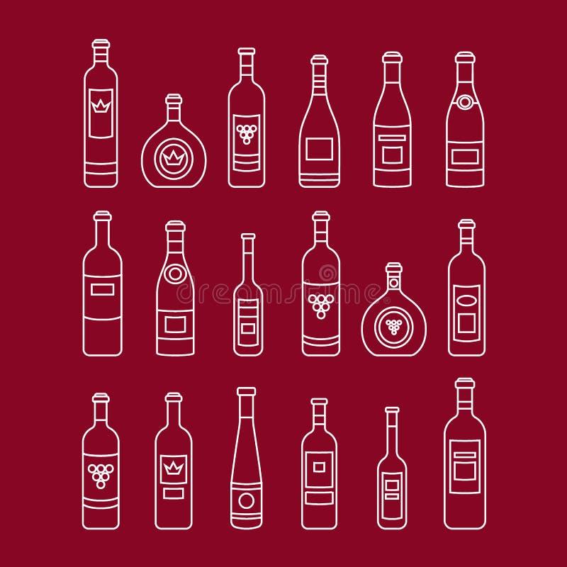 Σύνολο περίληψης μπουκαλιών κρασιού τα τρισδιάστατα μπουκάλια διαμορφώνουν το άσπρο κρασί διανυσματική απεικόνιση