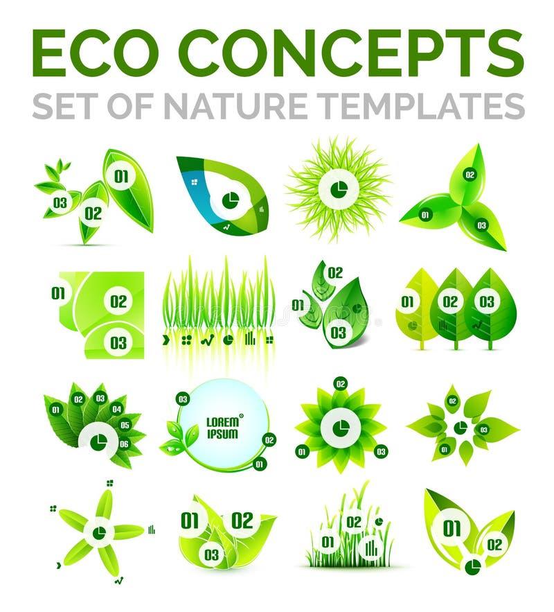 Σύνολο περιβαλλοντικών αφηρημένων προτύπων έννοιας φύσης ή οικολογίας ελεύθερη απεικόνιση δικαιώματος