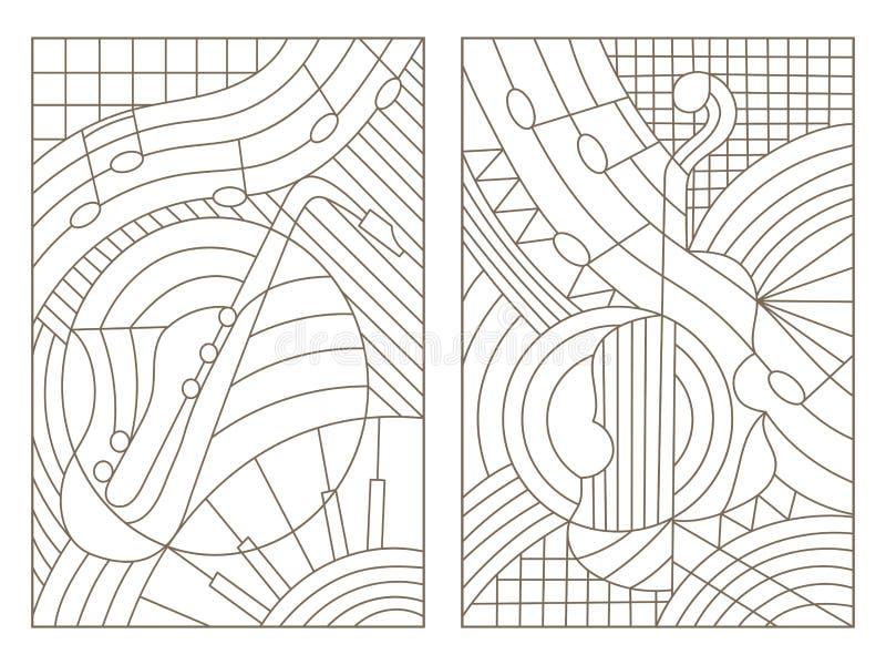 Σύνολο περιγράμματος λεκιασμένου γυαλιού με τις απεικονίσεις στο θέμα του αφηρημένων βιολιού και του saxophone μουσικής απεικόνιση αποθεμάτων