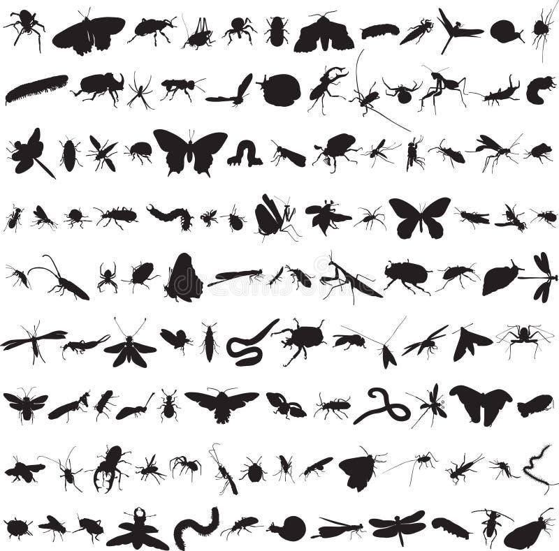 Σύνολο περισσότερων από εκατό εντόμων απεικόνιση αποθεμάτων