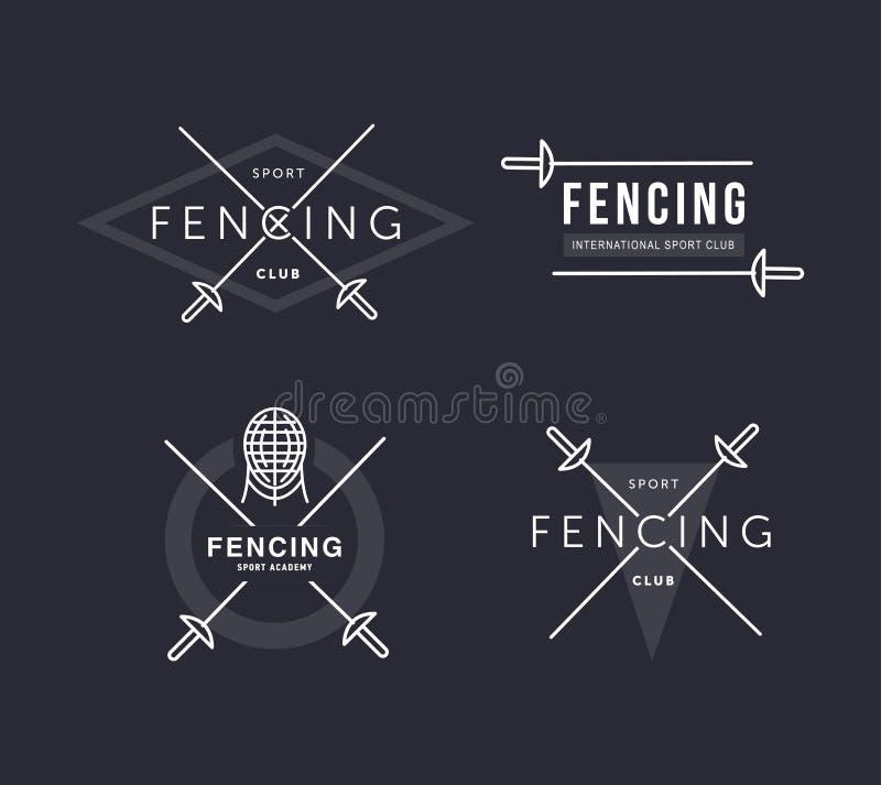 Σύνολο περιφράζοντας αθλητικού διανυσματικού λογότυπου ή διακριτικού Στοιχεία εμβλημάτων Περιφράζοντας εξοπλισμός - rapier, φύλλο απεικόνιση αποθεμάτων