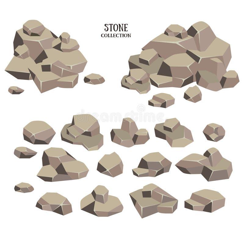 Σύνολο πετρών κινούμενων σχεδίων Γκρίζα συλλογή βράχου Διανυσματική απεικόνιση που απομονώνεται στην άσπρη ανασκόπηση απεικόνιση αποθεμάτων