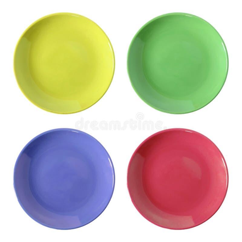 Σύνολο πιάτου χρώματος που απομονώνεται στο λευκό στοκ φωτογραφίες