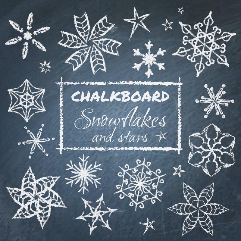Σύνολο πινάκων κιμωλίας snowflakes διανυσματική απεικόνιση